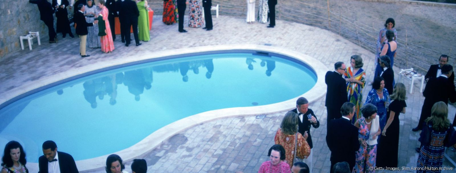 A formal party by a swimming pool in the Algarve, Portugal, June 1973.