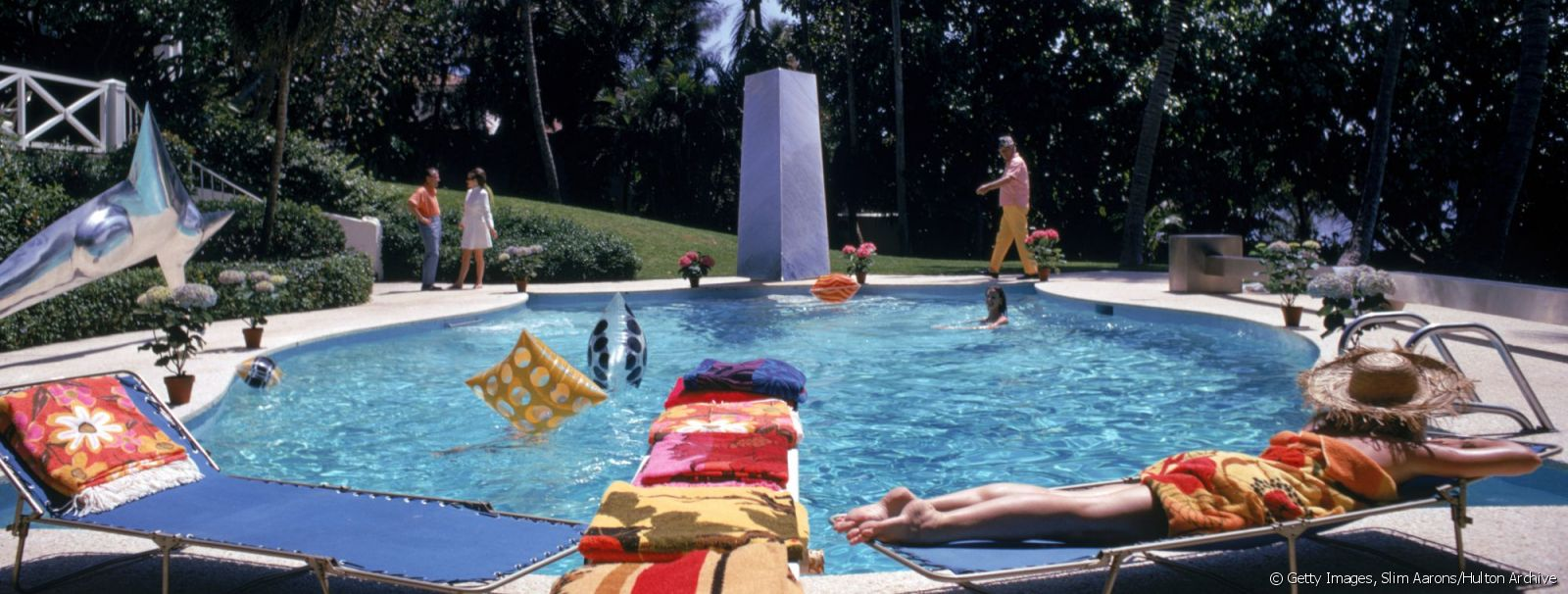 Bathers around the pool at 'Four Winds', the home of J. Patrick Lannan, in Palm Beach, Florida, April 1968.